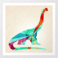 dinosaur Art Prints featuring dinosaur by Emmy Winstead