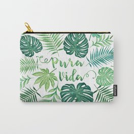 Tropical Pura Vida Palm Leaves and Monstera Watercolor Carry-All Pouch