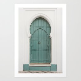 Doors of Morocco   Mint door in a white wall in Asilah photography print Art Print