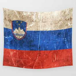 Vintage Aged and Scratched Slovenian Flag Wall Tapestry