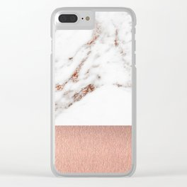 Rose gold marble and foil Clear iPhone Case