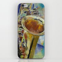 saxophone iPhone & iPod Skins featuring Saxophone by Michael Creese