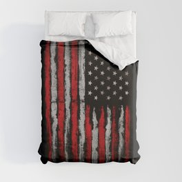 Red & white Grunge American flag Duvet Cover