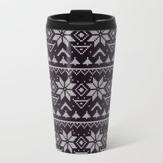 Knitted Christmas pattern in retro style 5 Metal Travel Mug