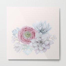My mexican pastel pink succulent garden Metal Print