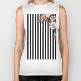 Boho Flowers and Stripes Biker Tank