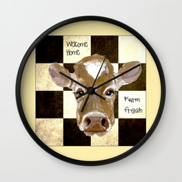 Farmhouse Cow, Welcome Home Farm Fresh Wall Clock