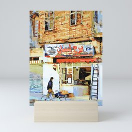 Man and bicycle in front of a shop Aleppo Mini Art Print