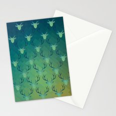 Aqua Antlers Pattern Stationery Cards