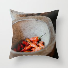 Peppers spices in a bowl on a coffee plantation in Ubud, Bali   Travel and food photography   Fine art print Throw Pillow