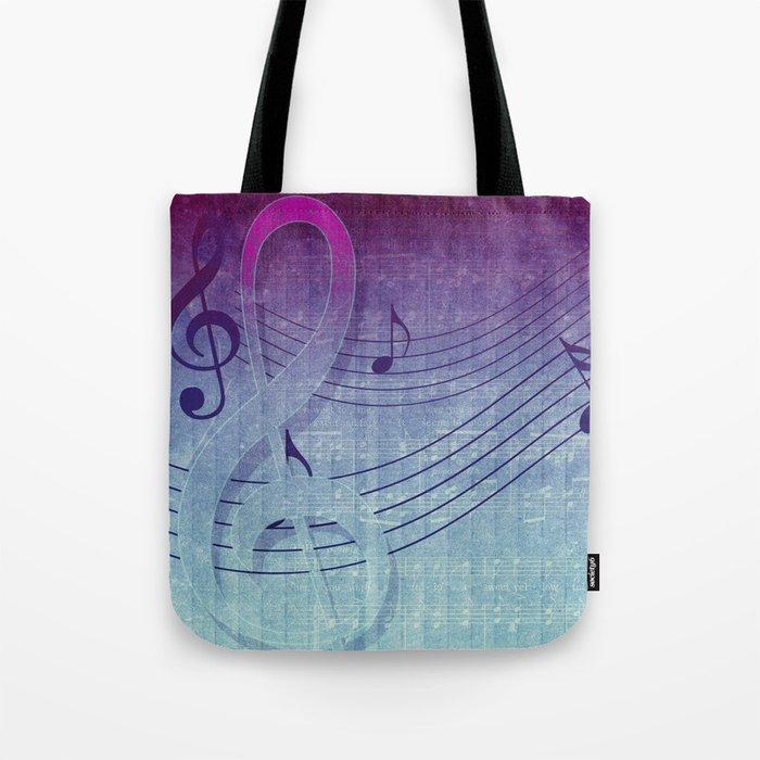 Aqua Purple Ombre Music Notes Tote Bag