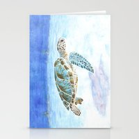 sea turtle Stationery Cards featuring Sea turtle by Savousepate