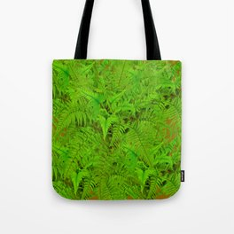 ABSTRACTED  GREEN  TROPICAL FERNS GARDEN ART Tote Bag