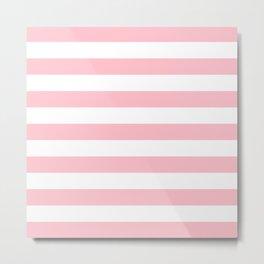 Horizontal Stripes (Pink/White) Metal Print