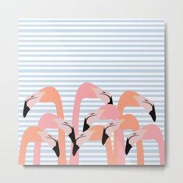 flamingoes stripes Metal Print