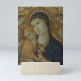 Sano di Pietro - The Virgin and Child, Two Saints and six Angels Mini Art Print
