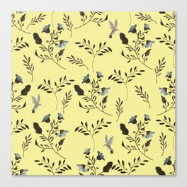 Butter Yellow and Bluebells and Bluebirds Floral Pattern Flowers in Blue and Bark Brown Canvas Print