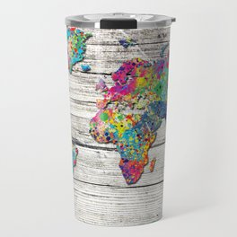 world map wood 4 Travel Mug