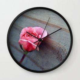 Rose on Wood Wall Clock