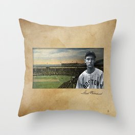 Red Sox Ted Williams baseball montage vintage Throw Pillow