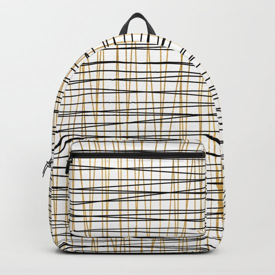 Line Art-Gold and Black Lines on White-Mix and Match with Simplicty of Life Backpack