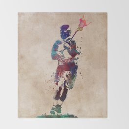 Lacrosse player art 2 Throw Blanket