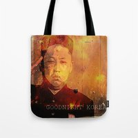 korea Tote Bags featuring Goodnight Korea by Katy Kennedy