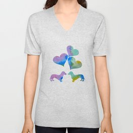Art Dachshunds Unisex V-Neck