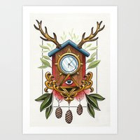 wall clock Art Prints featuring Clock-wall by Kaifa studio
