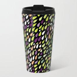 Rainy day pattern. Spring version on black background Travel Mug