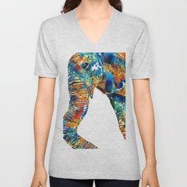 Colorful Elephant Art by Sharon Cummings Unisex V-Neck