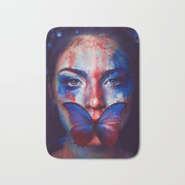 Beautiful Woman Face with Butterfly - Wall Arts Only Bath Mat