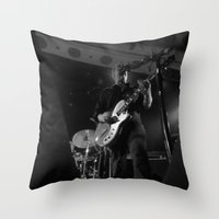 queens of the stone age Throw Pillows featuring josh homme // queens of the stone age by Hattie Trott