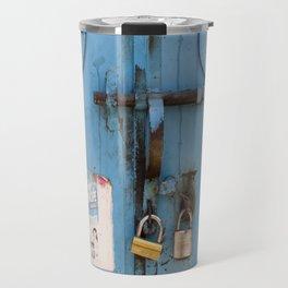 Old blue door Travel Mug