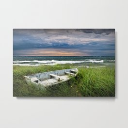 Abandoned Boat on Grassy Shore Land at Sunset Metal Print