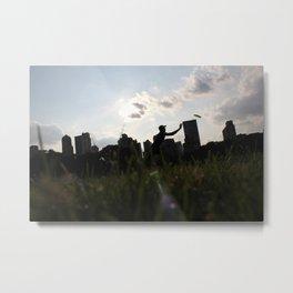 Silhouette Frisbee in Sheep Meadow Metal Print