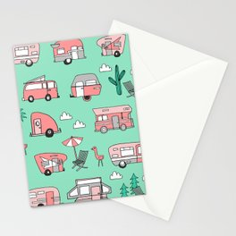 Camper summer vacation tropical pattern RV van life print by andrea lauren Stationery Cards