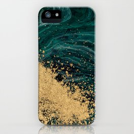 Abstract Pour Painting Liquid Marble Abstract Green Painting Gold Accent iPhone Case