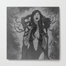Goddess Morrigan B&L Metal Print