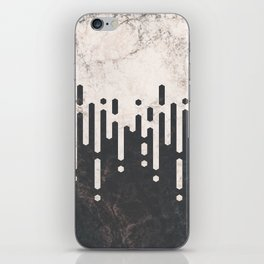 Marble and Geometric Diamond Drips, in Charcoal Grey and Light Beige iPhone Skin