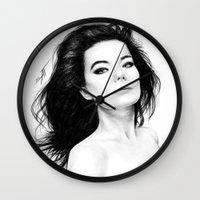 bjork Wall Clocks featuring Bjork by AnastasiumArt