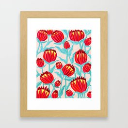 Bold Protea Flower Pattern - Red Yellow Green Framed Art Print