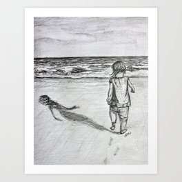 Toddler on the Beach Drawing Art Print