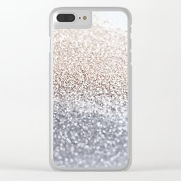 SILVER GLITTER Clear iPhone Case