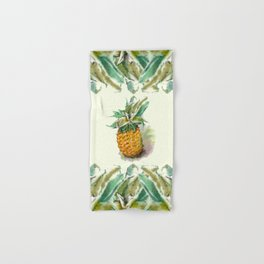 Ripe juicy pineapple with green leaves. Watercolor hand-drawn.  Hand & Bath Towel