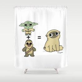 The origin of pugs Shower Curtain