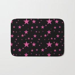 Glowing Pink Stars on Black Bath Mat