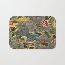 Painterly Flowers and Butterflies Bath Mat