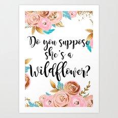 Blush and gold wildflower Art Print