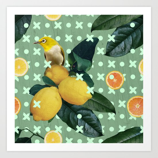Bird & lemons green pattern Art Print